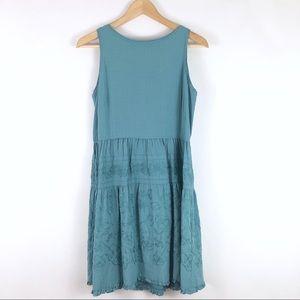 Ann Taylor LOFT Blue Green Embroidered Dress 8P